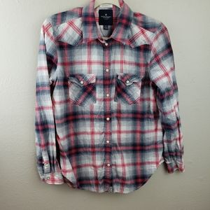 AEO Red & Black Plaid Snap Button Down Shirt M